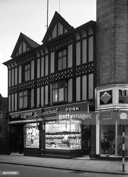 George Schonhut's butchers' shop Rotherham South Yorkshire 1955 George Schonhut's butcher's shop in All Saints Square in Rotherham with its elegant...