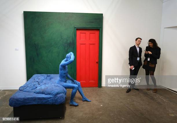 George Segal's Blue Woman Sitting on a Bed is seen during the Armory Show that is the biggest international art fair staged in New York United States...