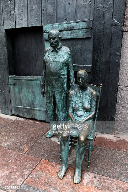 George Segal's The Appalachian Farm Couple sculpture sits inside the Franklin Delano Roosevelt Memorial site on April 10 2015 in Washington DC