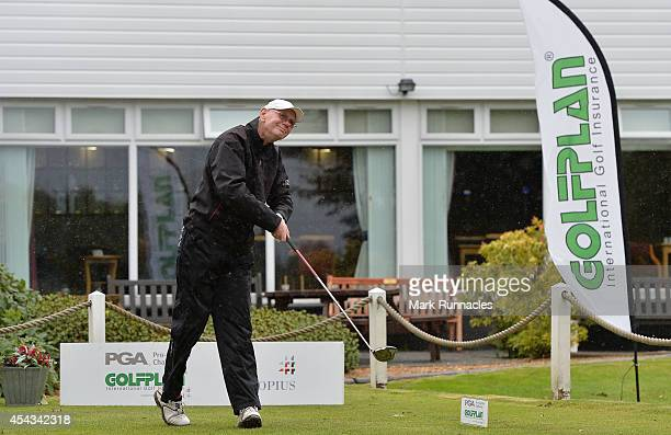 George Shaw of Murrayfield Golf Club on the first tee during the Golfplan Insurance PGA ProCaptain Challenge Scotland Regional Qualifier at...