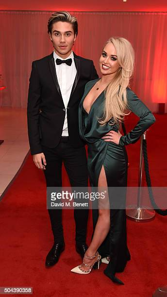 George Shelley and Jorgie Porter attend E's Live From The Red Carpet Golden Globes Watch Along Party held at St Martin's Lane Hotel on January 10...