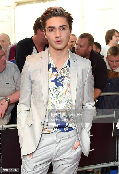 George Shelley arrives for the Glamour Women Of The Year Awards in Berkeley Square Gardens on June 7 2016 in London United Kingdom
