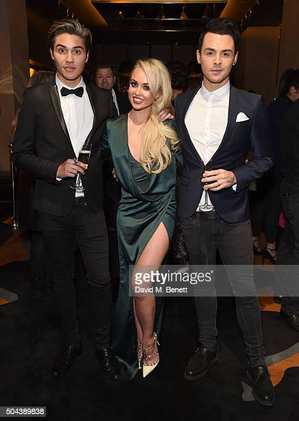 George Shelley Jorgie Porter and Jaymi Hensley attend E's Live From The Red Carpet Golden Globes Watch Along Party held at St Martin's Lane Hotel on...