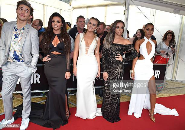 George Shelley with Jesy Nelson Perrie Edwards Jade Thirlwall and LeighAnne Pinnock of Little Mix arrive for the Glamour Women Of The Year Awards in...