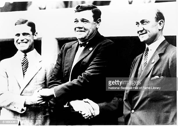 George Sisler stands for a photo with Babe Ruth and Ty Cobb George Sisler played for the St Louis Browns from 19151927 Washington Senators in 1928...