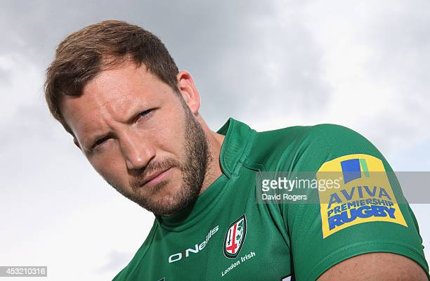 George Skivington captain of London Irish poses at the photocall held on August 5 2014 in Sunbury England