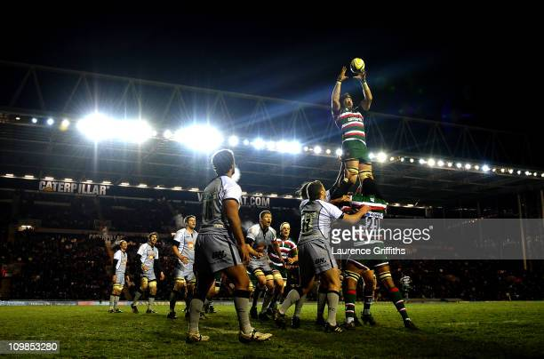 George Skivington of Leicester Tigers gathers the ball in the lineout during the AVIVA Premiership match between Leicester Tigers and Newcastle...