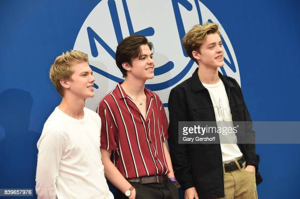 George Smith Blake Richardson and Reece Bibby of New Hope Club attend the 22nd Annual Arthur Ashe Kids' Day event at USTA Billie Jean King National...