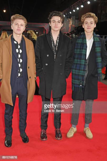 George Smith Blake Richardson and Reece Bibby of 'New Hope Club' attend the European Premiere of 'Star Wars The Last Jedi' at the Royal Albert Hall...