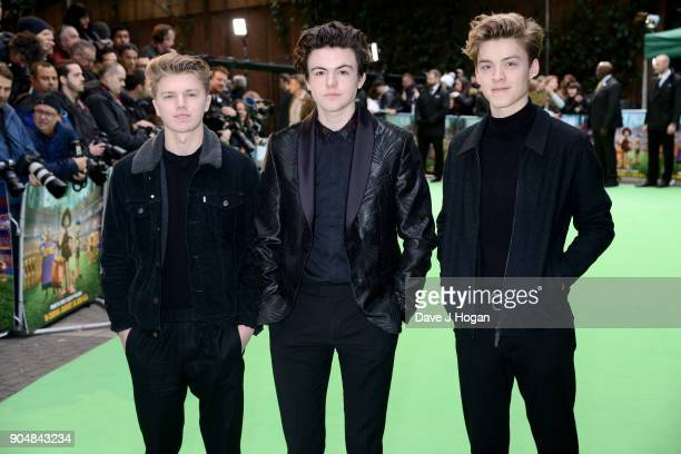 George Smith Blake Richardson and Reece Bibby of New Hope Club attend the 'Early Man' World Premiere held at BFI IMAX on January 14 2018 in London...