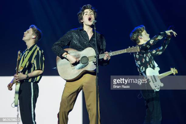 George Smith Blake Richardson and Reece Bibby of New Hope Club perform live on stage at The O2 Arena on April 28 2018 in London England