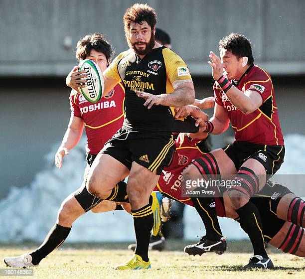 George Smith of Suntory in action during the Japan Rugby Top League playoff final match between Suntory Sungoliath and Toshiba Brave Lupus at Prince...
