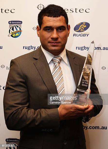 George Smith of the Brumbies poses with the 2008 Super 14 Player of the Year Award during the 2008 Super 14 Awards at Fox Sports studios on May 22,...