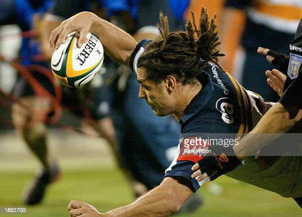 George Smith of the Brumbies scores a try during the fourth round of the Super 12 match between the ACT Brumbies and the Stormers of South Africa...
