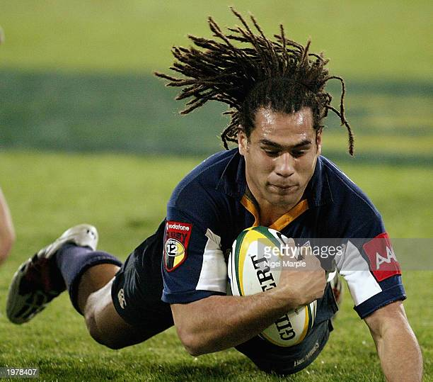 George Smith of the Brumbies scores a try during the Super 12 match between the Hurricanes and the ACT Brumbies May 3 2003 held at Westpac Trust...