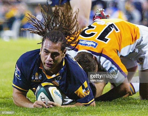 George Smith of the Brumbies scores during the round nine Super 14 match between the Brumbies and the Cheetahs played at Canberra Stadium on April 8...