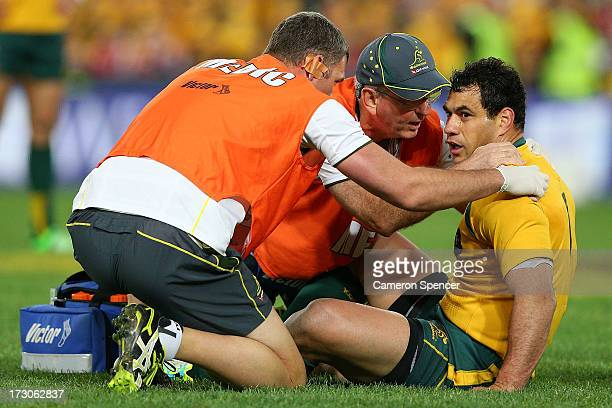 George Smith of the Wallabies is injured during the International Test match between the Australian Wallabies and British Irish Lions at ANZ Stadium...