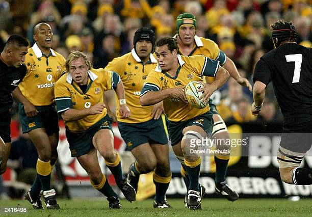 George Smith of the Wallabies makes a break during the Tri Nations Bledisloe Cup match between the Australian Wallabies and the New Zealand All...