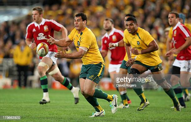 George Smith of the Wallabies passes the ball during the International Test match between the Australian Wallabies and British & Irish Lions at ANZ...