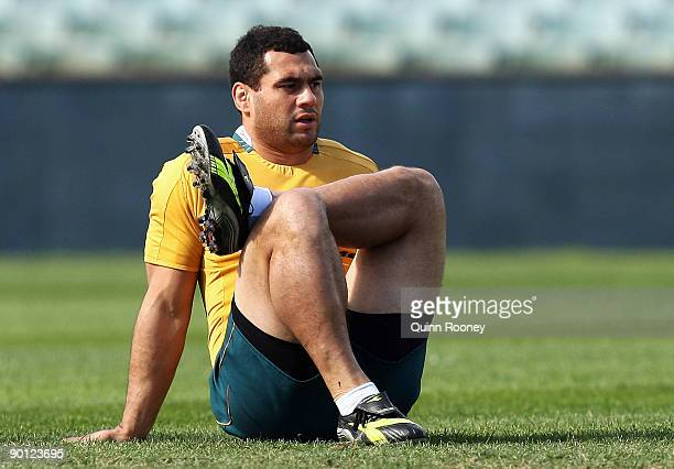 George Smith of the Wallabies stretches during the Australian Wallabies captain's run at Subiaco Oval on August 28 2009 in Perth Australia