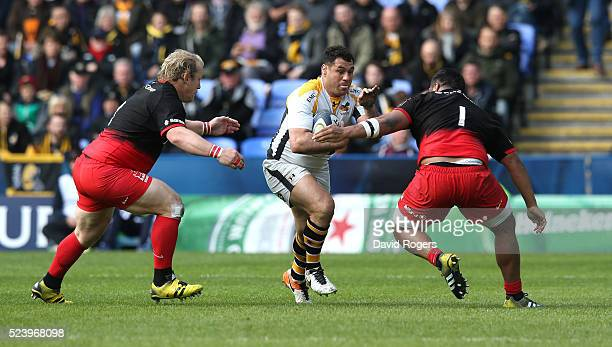 George Smith of Wasps runs with the ball during the European Rugby Champions Cup semi final match between Saracens and Wasps at Madejski Stadium on...