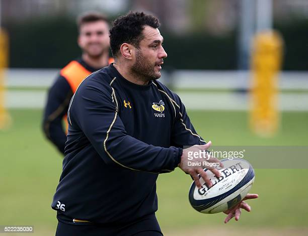 George Smith passes the ball during the Wasps media session held at Twyford Avenue training ground on April 18 2016 in Acton England