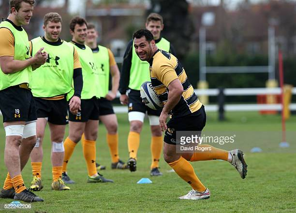 George Smith runs with the ball during the Wasps media session held at Twyford Avenue training ground on April 18 2016 in Acton England