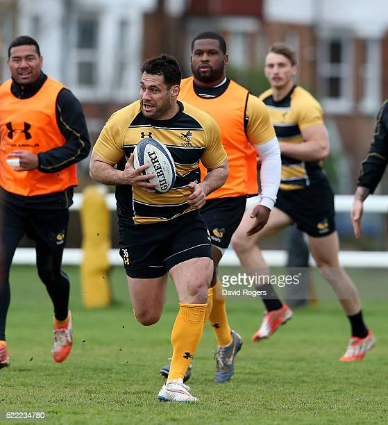 George Smith runs with the ball during the Wasps training session held at Twyford Avenue training ground on April 18 2016 in Acton England