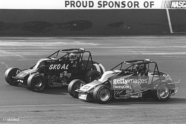George Snider battles with Kenny Irwin Jr during the USAC Silver Crown Series portion of the Copper World Classic at Phoenix International Raceway