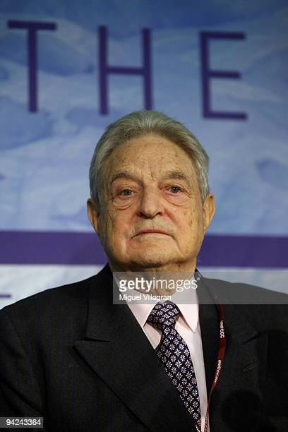 George Soros announces during a press conference a plan to generate additional 100 billion US dollars for climate change relief during the fourth day...