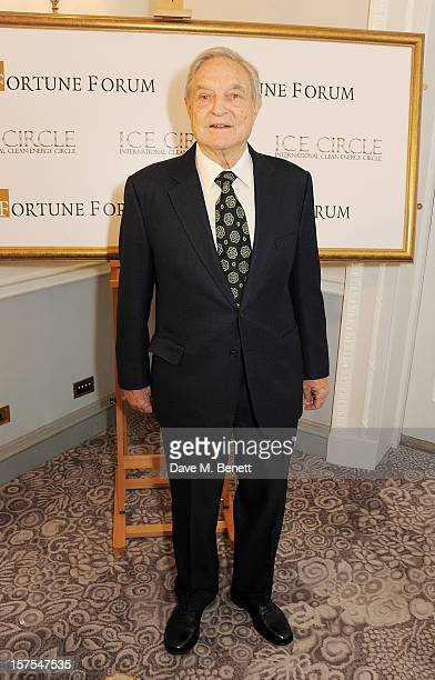 George Soros attends a cocktail reception at the 4th Fortune Forum Summit held at The Dorchester on December 4 2012 in London England