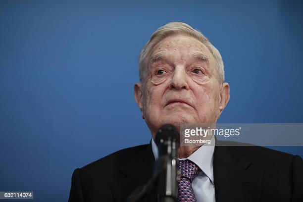 George Soros billionaire and founder of Soros Fund Management LLC pauses during a Bloomberg Television interview at the World Economic Forum in Davos...