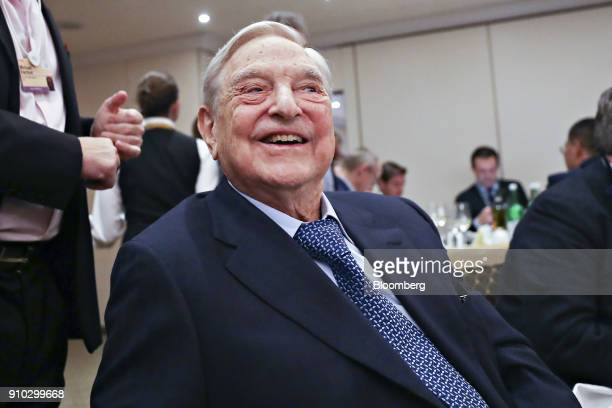 George Soros billionaire and founder of Soros Fund Management LLC attends an event on day three of the World Economic Forum in Davos Switzerland on...