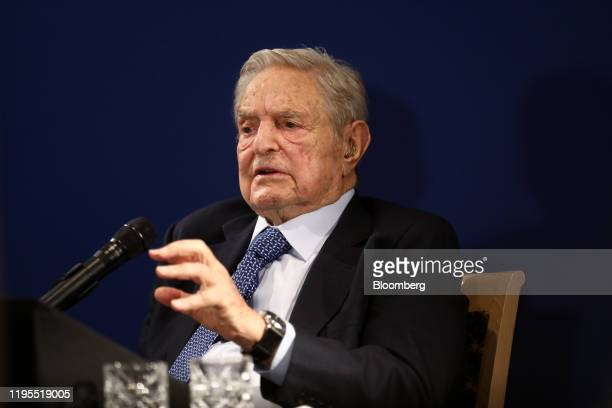 George Soros billionaire and founder of Soros Fund Management LLC speaks at an event on day three of the World Economic Forum in Davos Switzerland on...
