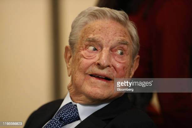 George Soros, billionaire and founder of Soros Fund Management LLC, on day three of the World Economic Forum in Davos, Switzerland, on Thursday, Jan....