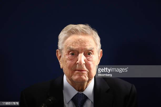 George Soros billionaire and founder of Soros Fund Management LLC pauses while speaking at an event on day three of the World Economic Forum in Davos...