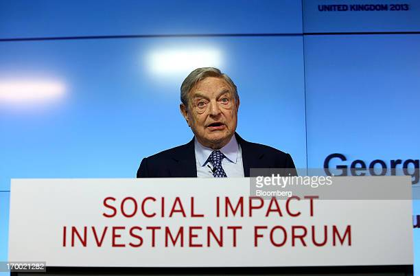 George Soros billionaire and founder of Soros Fund Management LLC speaks during the G8 social impact investment forum at Bloomberg LP's offices in...