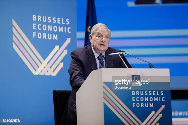 George Soros billionaire and founder of Soros Fund Management LLC speaks during the Brussels Economic Forum in Brussels Belgium on Thursday June 1...