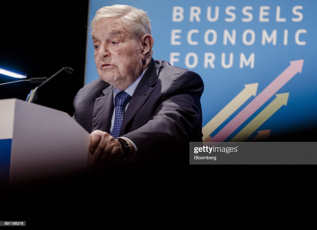 George Soros, billionaire and founder of Soros Fund Management LLC, speaks during the Brussels Economic Forum in Brussels, Belgium, on Thursday, June 1, 2017. It may take the U.K. as long as five years to leave the European Union, with the process set to do major harm to both parties, Soros said, urging the worlds biggest trading bloc to avoid penalizing Britain and instead focus on reforming itself. Photographer: Marlene Awaad/Bloomberg via Getty Images
