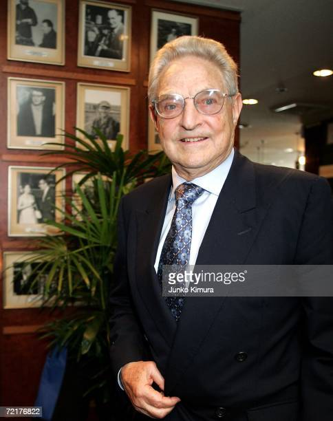 George Soros Chairman of Soros Fund Management arrives at the Foreign Correspondents' Club of Japan on October 16 2006 in Tokyo Japan According to...