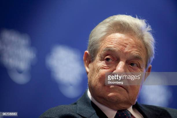 George Soros chairman of Soros Fund Management participates in a panel session on day one of the 2010 World Economic Forum annual meeting in Davos...