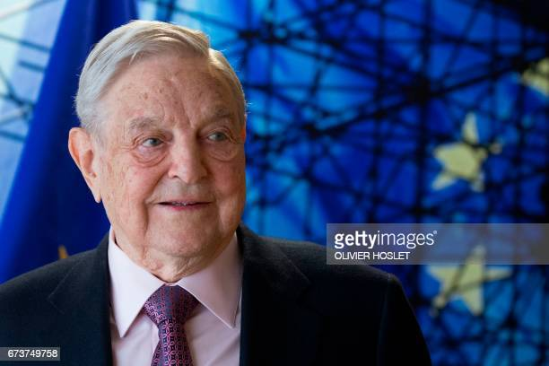 George Soros Founder and Chairman of the Open Society Foundations arrives for a meeting in Brussels on April 27 2017 Meeting will mainly focus on...