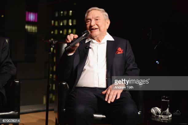 George Soros speaks onstage at the PHR 2017 Gala at Jazz at Lincoln Center on April 18 2017 in New York City