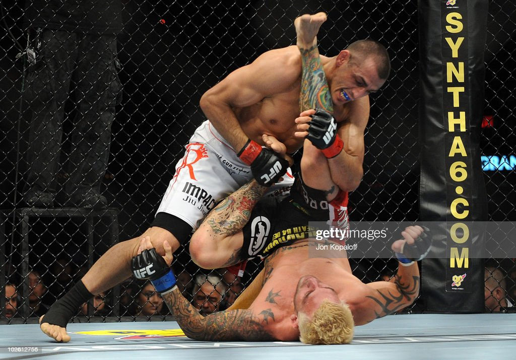 George Sotiropoulos of Australia holds down Kurt Pellegrino during the UFC lightweight bout at the MGM Grand Garden Arena on July 3, 2010 in Las Vegas, Nevada.