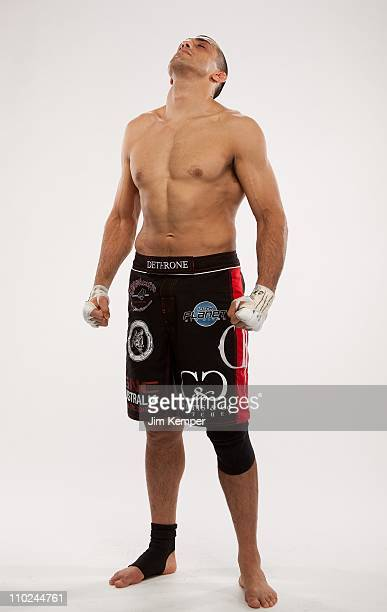 George Sotiropoulos poses for a portrait backstage after defeating Joe Lauzon at UFC 123 on November 20 2010 in Auburn Hills Michigan