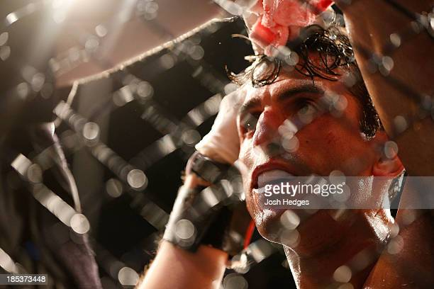 George Sotiropoulos stands in his corner after being defeated by KJ Noons in their UFC lightweight bout at the Toyota Center on October 19 2013 in...