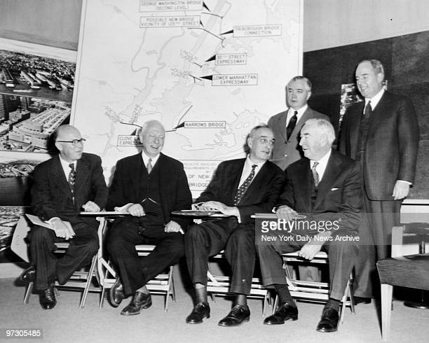 George Spargo Bayard F Pope Robert Moses George McLaughlin Austin Tobin and William Tracy discuss bridges between Brooklyn and Staten Island