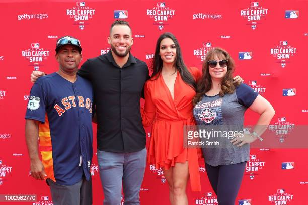 George Springer of the Houston Astros and the American League and guests attend the 89th MLB AllStar Game presented by MasterCard red carpet at...