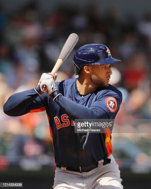 George Springer of the Houston Astros at bat against the Atlanta Braves during a Grapefruit League spring training game at CoolToday Park on March 10...