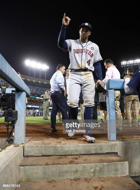 George Springer of the Houston Astros celebrates after winning Game 2 of the 2017 World Series against the Los Angeles Dodgers at Dodger Stadium on...
